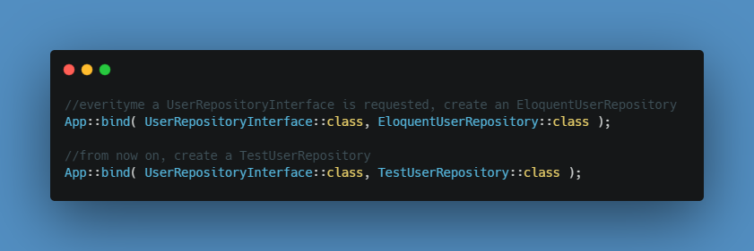 Binding of interfaces to concrete classes