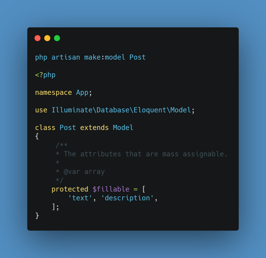 we will create Post model by using the following command