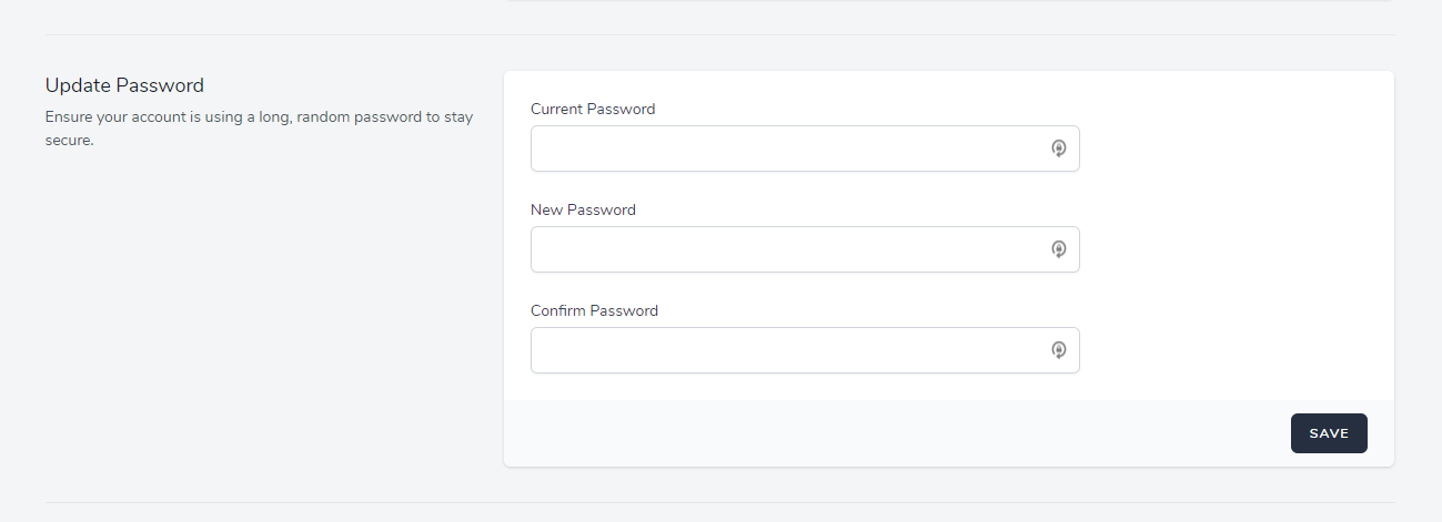 password and log out