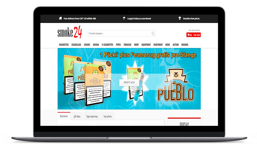 Offline shopping was yesterday. Whether cigarettes, cigarillos, cigars or tobacco accessories - smoke24.ch is the first online shop to offer all kinds of tobacco products of all brands in the form of one platform.